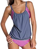 Angerella Vintage Striped Gefüttert Double Up Tankini Top Two Pieces Badeanzug für Frauen (BKI047-G3-M)