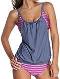 Angerella Vintage Striped Gefüttert Double Up Tankini Top Two Pieces Badeanzug für Frauen (BKI047-G3-XXL)