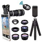 Rziioo Telefonkameraobjektiv mit 18x Teleobjektiv + Fischauge, Stativ und Auslöser 8 in 1 Handyobjektiv-Kit