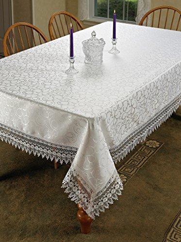 Blume Schleife Vintage Spitze Design Tischdecke, rechteckig,, Polyester, weiß, 70