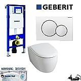 Geberit Duofix UP 320 Vorwandelement mit Sigma01, Keramag ICON, rimfree, Spülrandlos, Tiefspül-WC, inkl. Sitz ,Keratect Beschichtung