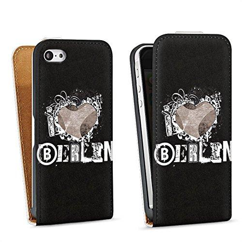 Apple iPhone 5s Housse Étui Protection Coque J'aime Berlin C½ur Amour Sac Downflip blanc