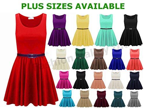 Skaterkleid für Damen, ärmellos, ausgestellt, kurz, Partykleid, Größe 36-54 Rot - Rot