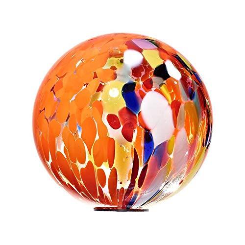 Cristalica Gartenkugel Glas Kugel klein Gartendeko Orange 13 cm inkl. Stab Point