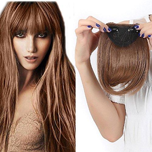 Extension frangia capelli bangs hair clip one piece frangetta corta frontale capelli lisci 30g marrone chiaro