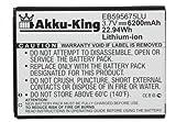 Akku-King 20110652 Lithium-Ion 6200mAh 3.7V batterie rechargeable - Batteries rechargeables (6200 mAh, 22,9 Wh, Lithium-Ion (Li-Ion), 3,7 V, Noir, Blanc, Haut)