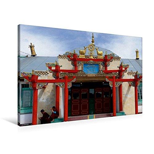 Premium Textil-Leinwand 90 cm x 60 cm quer, Kloster Gandantegchinlen   Wandbild, Bild auf Keilrahmen, Fertigbild auf echter Leinwand, Leinwanddruck: Ulan Bator, Mongolei (CALVENDO Orte)