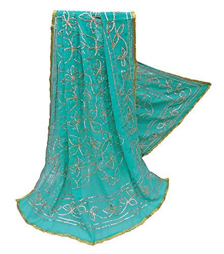 PEEGLI Mujeres Vintage Bordado Dupatta Azul Gota Encaje