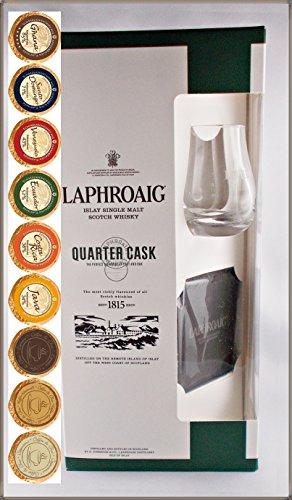 Laphroaig Quarter Cask Single Malt Whisky mit Glas, Schieferuntersetzer & 9 DreiMeister Edel Schokoladen in 9 Variationen, kostenloser Versand