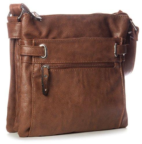 Big Handbag Shop mittelgroße Damen Schultertasche Cross Body Umhängetasche Dark Taupe