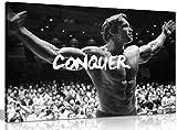 """Wanddekoration mit aufgedrucktem Bild von Arnold Schwarzenegger und der Aufschrift """"Conquer"""", motivierend und inspirierend , A1 76x51 cm (30x20in)"""