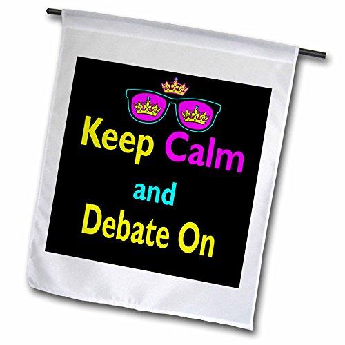 3dRose FL_116602_1 CMYK Keep Calm Parodie Hipster Crown und Sonnenbrille Keep Calm and Debate on Garden Flagge, 30,5 x 45,7 cm (Sonnenbrille Lg)