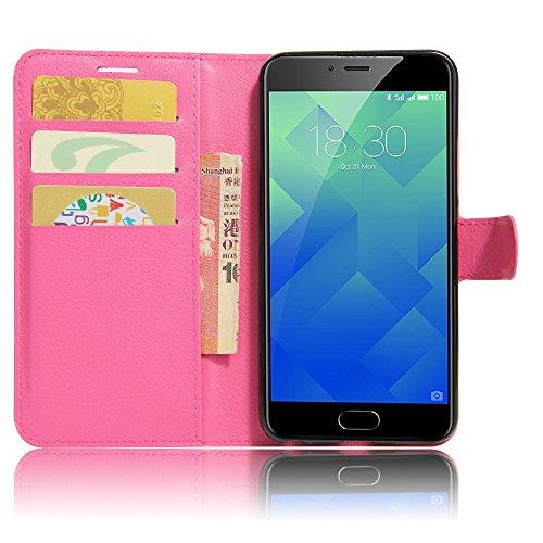 GARITANE Meilan 5/Meizu M5 Hülle Case Brieftasche mit Kartenfächer Handyhülle Schutzhülle Lederhülle Standerfunktion Magnet für Meilan 5/Meizu M5 (Hot Pink)