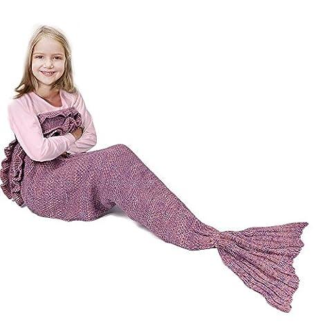 Meerjungfrau-Schwanz-Decke für Geburtstags-Geschenke, RUVALINO Süße Träume für Mädchen 3-12 Jährige, alle Jahreszeit-Schlafsack für Kinder 140 * 70 cm