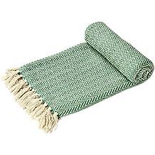 EHC–tejida a mano Reversible Individual Brazo de manta para sofá, diseño de silla 125x 150cm., color verde