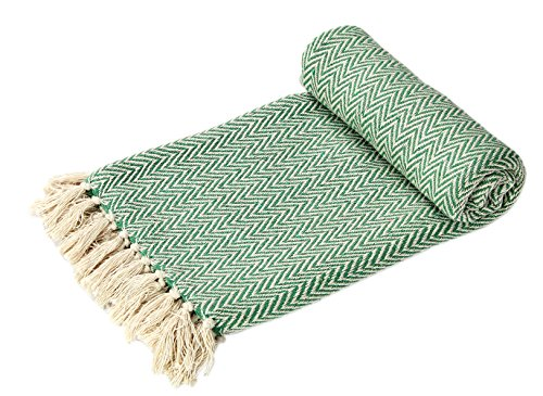 EHC Handwoven Reversible Single Sofa Throw Arm Chair Cover 125 x 150cms, Green