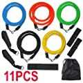 tinkertonk Resistance Bands Set, 11 tube set with handles, door anchor, and carry bag for home fitness / travel fitness / strength - cheap UK light shop.