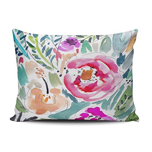 SALLEING Custom Fashion Home Decor Kissenbezug, bunt, Tropische Wasserfarben, Blumenmuster, quadratisch, Kissenbezug, Polyester-Mischgewebe, bunt, 12