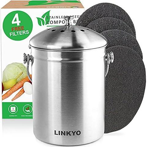 linkyo Compost–Compostador 4filtros para cocina de acero inoxidable (1L)