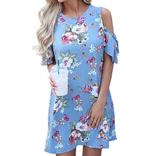 ESAILQ Damen hochwertige online bestellen romantische gestreift Blumen Blauen Glitzer blusen Frauen Bluse Blumenmuster Punkten Gestreifte schwarz(M,Hellblau)