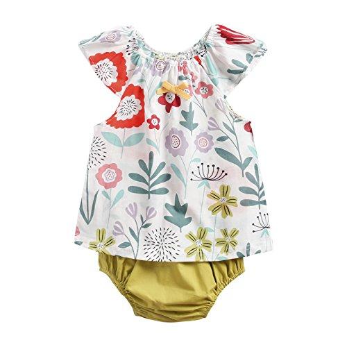 Sanlutoz Baumwolle Gedruckt Baby Mädchen Kleidung Sommer Neugeborenes Baby Kleidungsset Beiläufig (6-12 Monate, BCS8040)