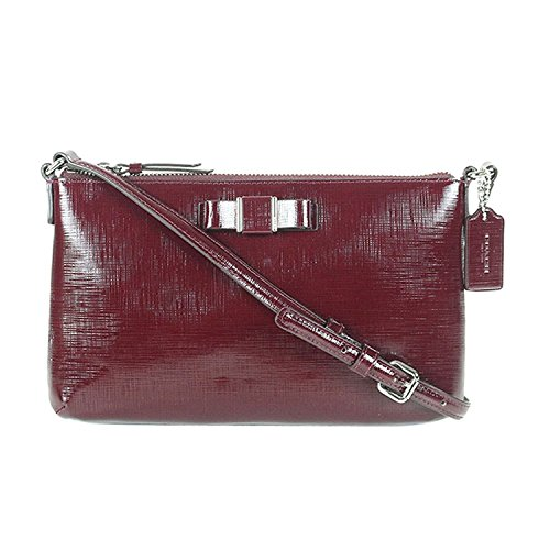 Coach Darcy Patent Bow East West Swingpack Sherry Red Red Patent Bow