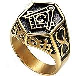 XCXZM Retro Diamante Mason Símbolo AG untado Anillos del Acero Inoxidable del Oro para Hombre