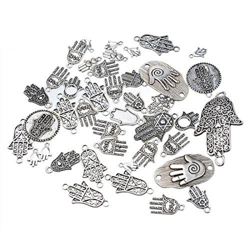 Souarts 1 Set Antik Silber Farbe Fatima Hand Schmuckzubehör Basteln Charms Anhänger Für Halskette Armband 20St (20 Anhänger Halskette)