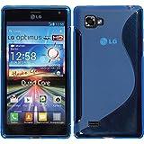 PhoneNatic LG Optimus 4X HD P880 Hülle Silikon blau S-Style Case Optimus 4X HD P880 Tasche + 2 Schutzfolien