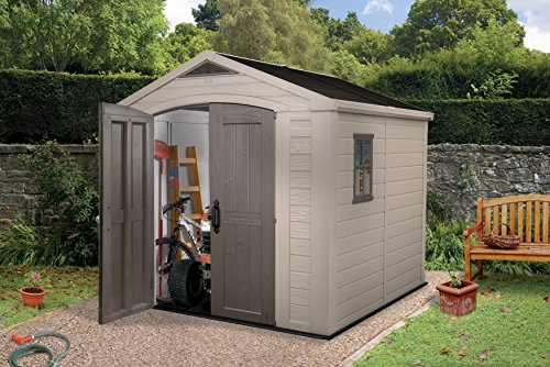 Keter Factor Outdoor Plastic Garden Storage Shed, 8 x 8 feet – Beige