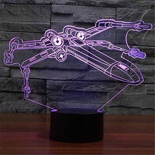 SmartEra® Star War X-Wing Fighter 3D Optische Täuschung Mehrfarbig ändern Berühren Sie Botton Schreibtischlampe Tischleuchte