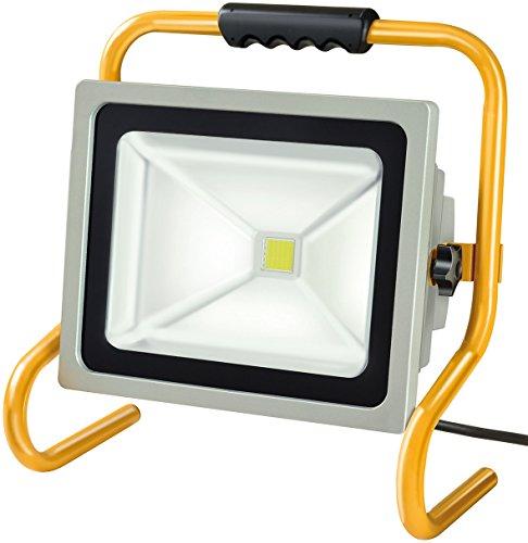 Chip-LED-Leuchte / LED Strahler außen und innen (Außenstrahler 50 Watt, Baustrahler IP65, LED Fluter Tageslicht) Farbe: silber/gelb ()