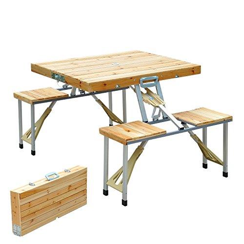 Mesa ultra plegable para camping de madera.