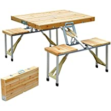 Outsunny - Mesa plegable de madera