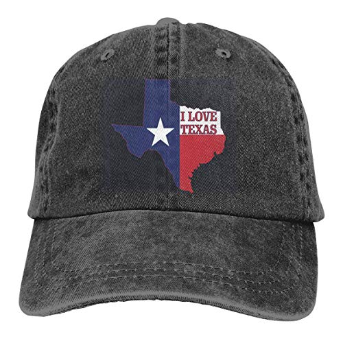 Ingpopol Men Women Adjustable Denim Jeans Baseball Cap I Love Texas Texan Flag Hiphop Cap (Texans Jersey Custom)