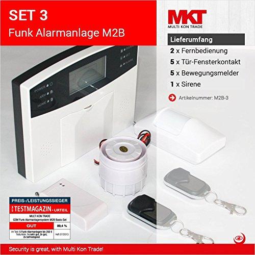 Preisvergleich Produktbild Set 3: M2B GSM Funk Alarmanlagensystem mit LCD Display