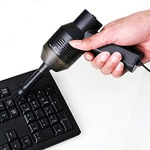 Mini USB aspirapolvere computer portatili desktop–Collezione per aspirapolvere con spazzola per polvere pane Paper Scrap sigaretta Ash particelle di PC portatile trucco borse Pet House etc Black