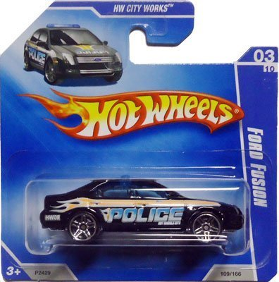 2009 Hot Wheels FORD FUSION [Black Police Car] #109/166, HW City Works #3/10 (Short Card) RARE! by Hot Wheels