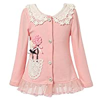 Richie House Girl's Knit Cardigan with Flower Details RH1431-B-02-6/7