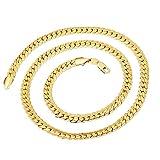 BoomYou Vergoldet Schlangenketten Schmuck Herren Rostfreier Stahl Schlangenkette Kette Flaches Gold-Fischgrät-Kettenglied - 6 mm Breite - Gold