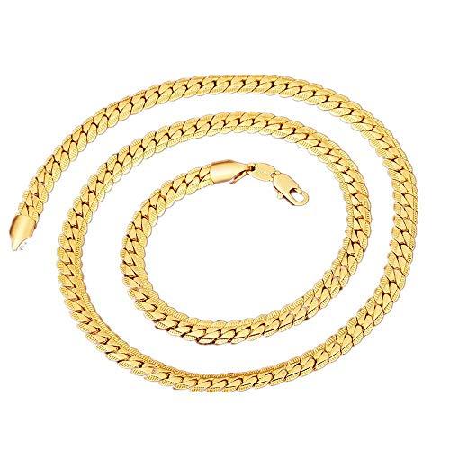 hlangenketten Schmuck Herren Rostfreier Stahl Schlangenkette Kette Flaches Gold-Fischgrät-Kettenglied - 6 mm Breite - Gold ()