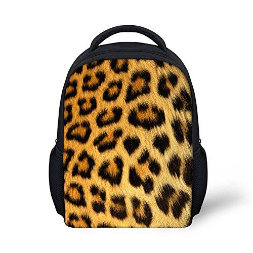 Wrail - Mochila Unisex para niños, diseño de Rayas de Animales, para guardería, Colegio, para niñas, niños, Leopardo, 24x10x30cm