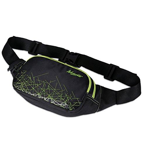Advocator nylon nero correnti di sport del sacchetto della vita da jogging di viaggio Linee Stripped portatile soldi Stile Pack Borse Cinture Borse Hip Pouch Marsupi