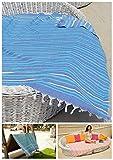 ZusenZomer Fouta de Plage xxl IBIZA 150x210 cm - Grande Serviette de Plage Drap de Hammam 100% coton - Foutas Design Unique (Turquoise Bleu Blanc)