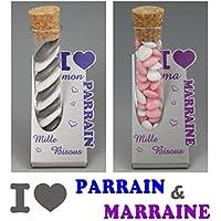 2 Soliflores : 1 Parrain & 1 Marraine - Cadeau Baptême, Noël...