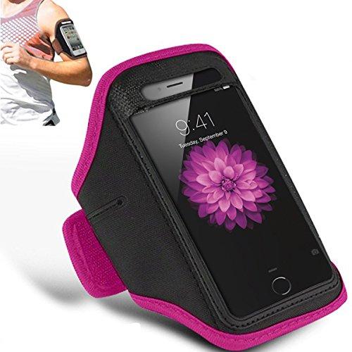 Apple iPhone 6S - Einstellbare Armband Gym Laufen Jogging Sports Fall-Abdeckung Holder + Putztuch ( Dark Purple ) Hot Pink