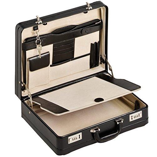 Aktenkoffer Echt Leder schwarz XL Attache Attachekoffer mit Doppel-Dehnfalte