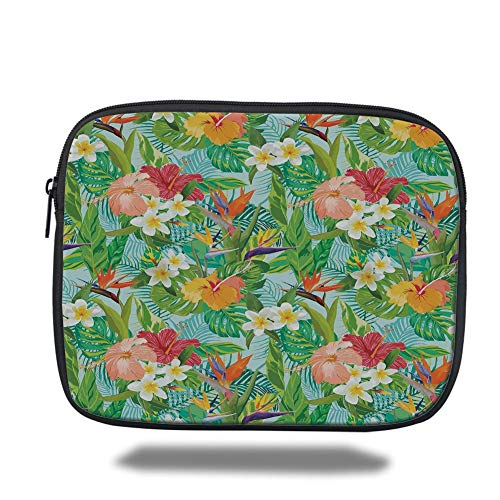 Laptop Sleeve Case,Leaf,Vintage Cartoon Style Image of Hawaiian Flowers Crepe Gingers Decorative,Blue Light Green Orange and Pink,Tablet Bag for Ipad air 2/3/4/mini 9.7 inch -
