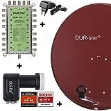 DUR-line MDA 80 Rot - Digitale 16 Teilnehmer Satellitenschüssel Komplett-Anlage...