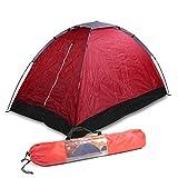 2 Mann Zelt Wasserdicht, 200x120x100 cm, rot, 1400 Gramm, Tragetasche und Befestigungsmaterial